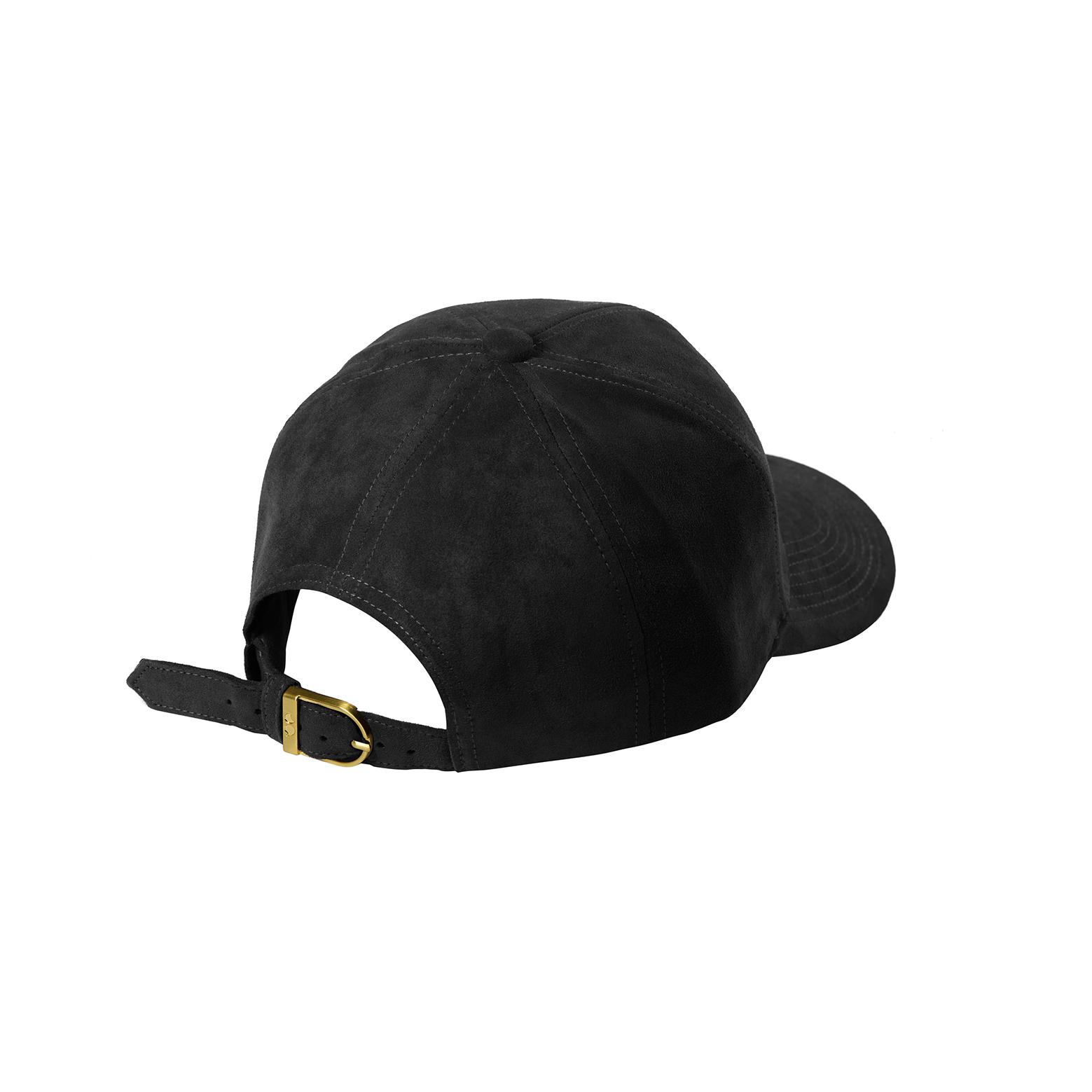 BASEBALL CAP BLACK GOLD SUEDE BACK SIDE