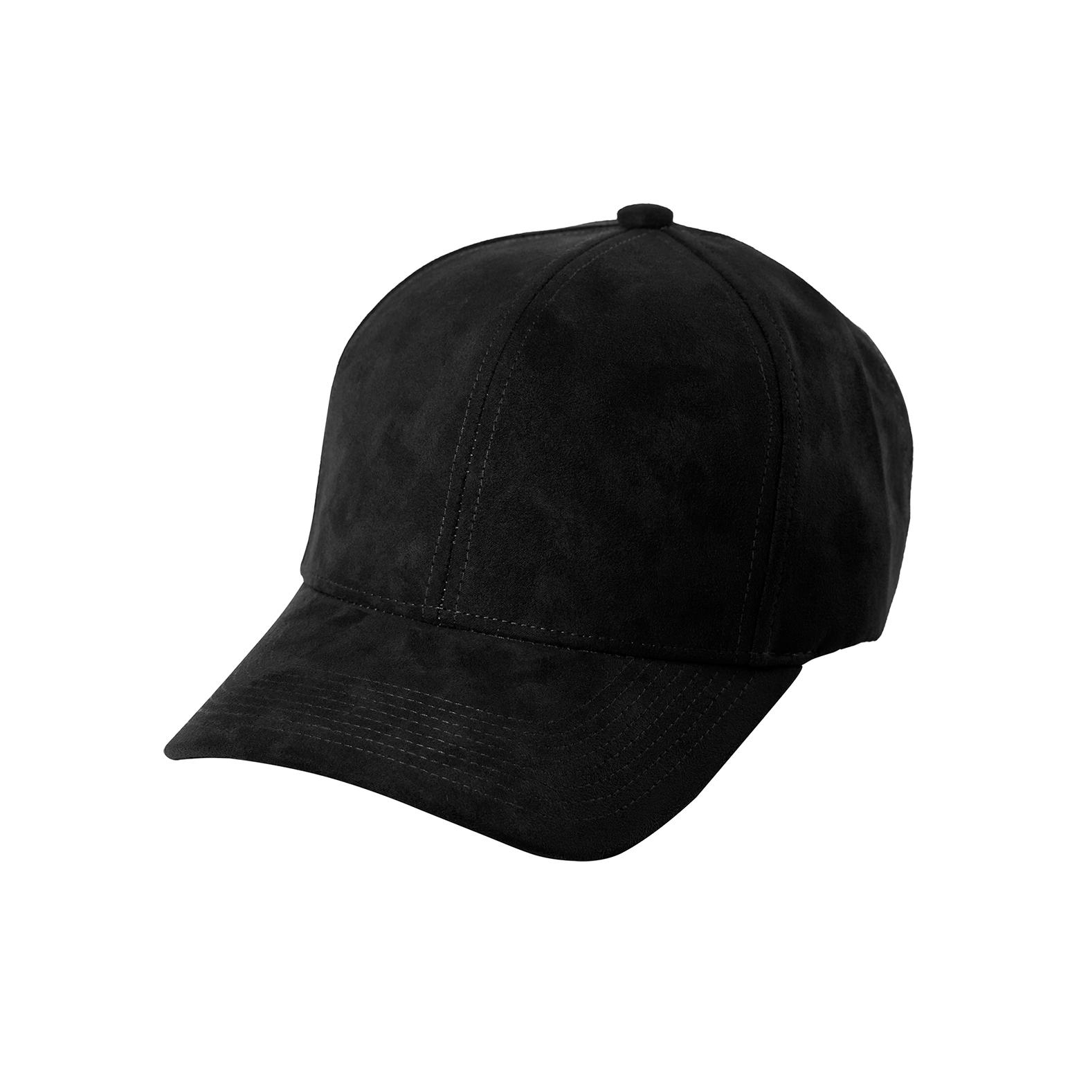 BASEBALL CAP BLACK SUEDE FRONT SIDE