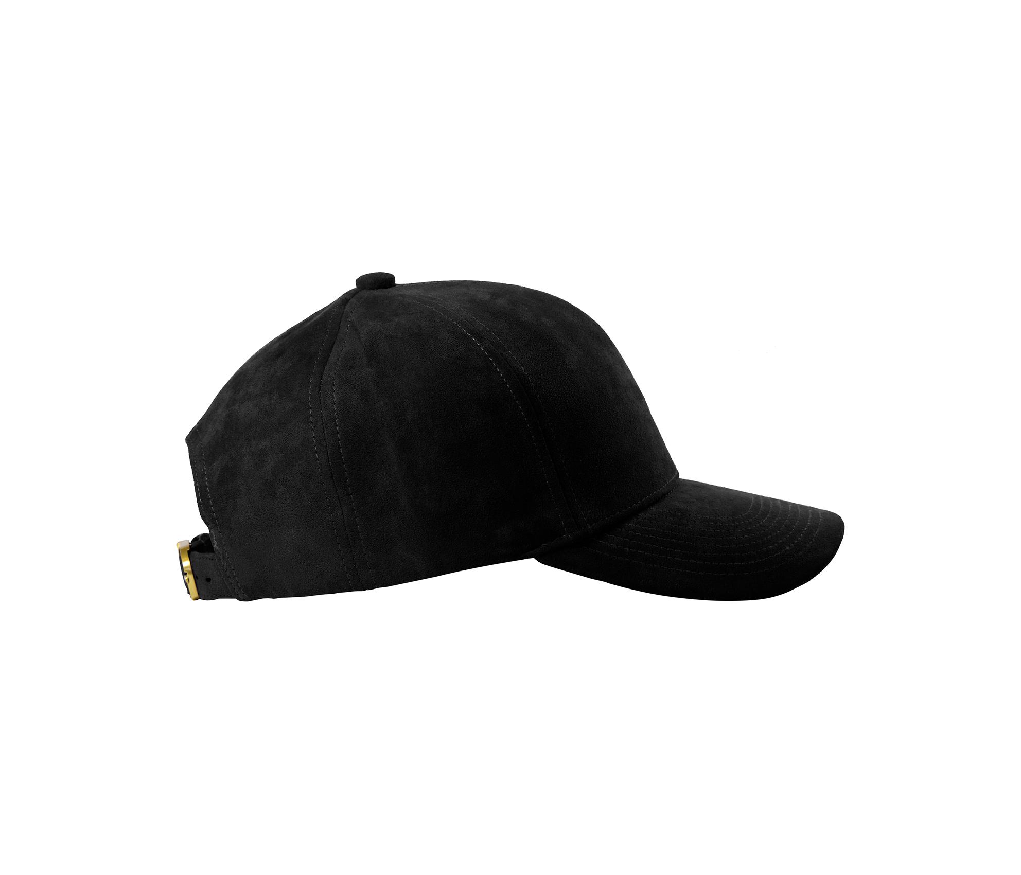 BASEBALL CAP BLACK SUEDE GOLD SIDE