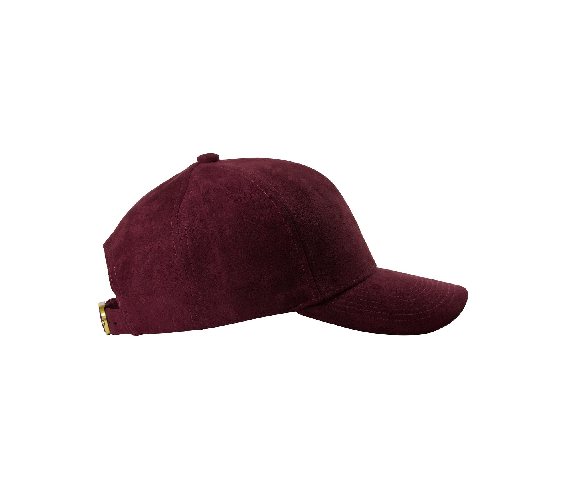 BASEBALL CAP BORDEAUX GOLD SUEDE SIDE
