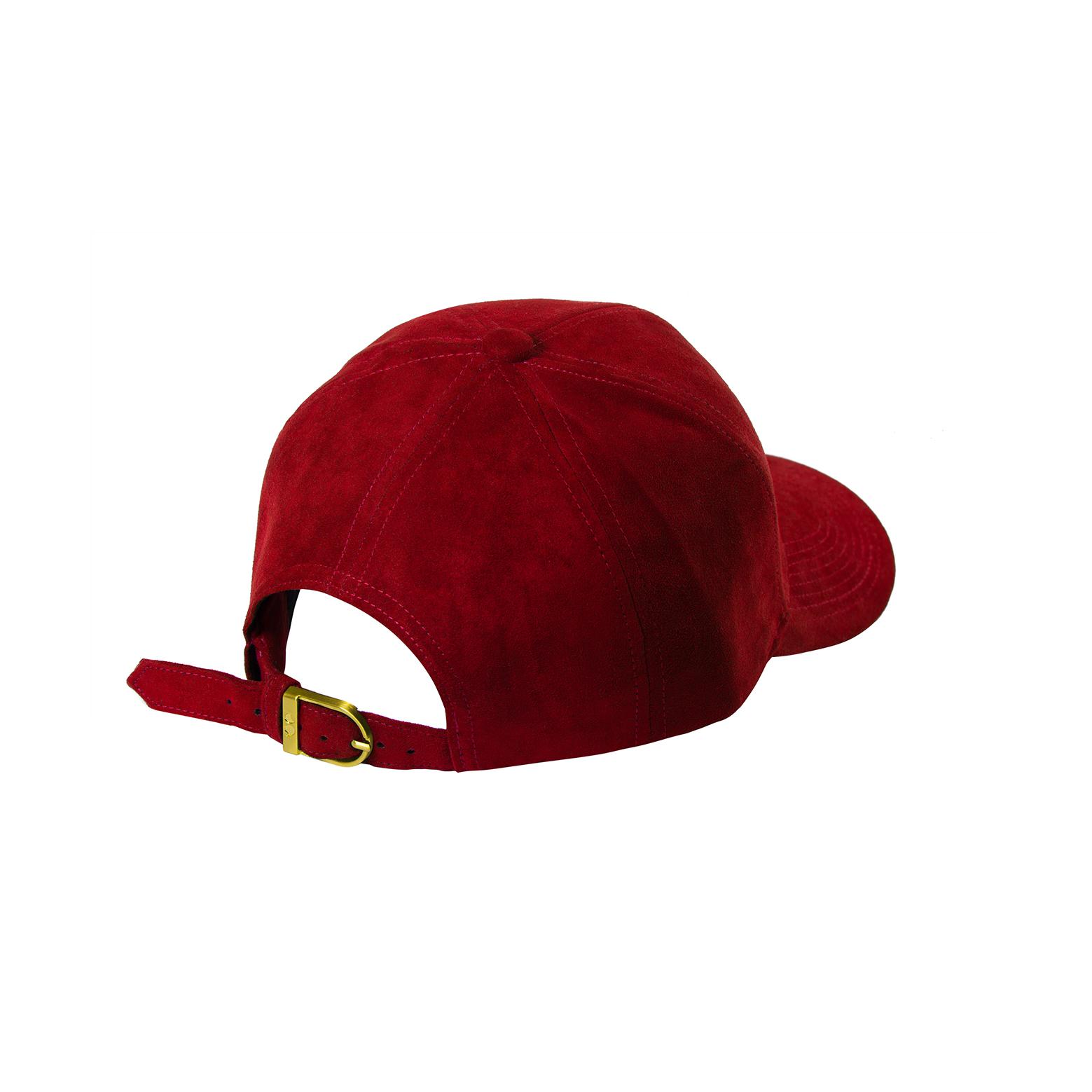 BASEBALL CAP RED SUEDE BACK SIDE