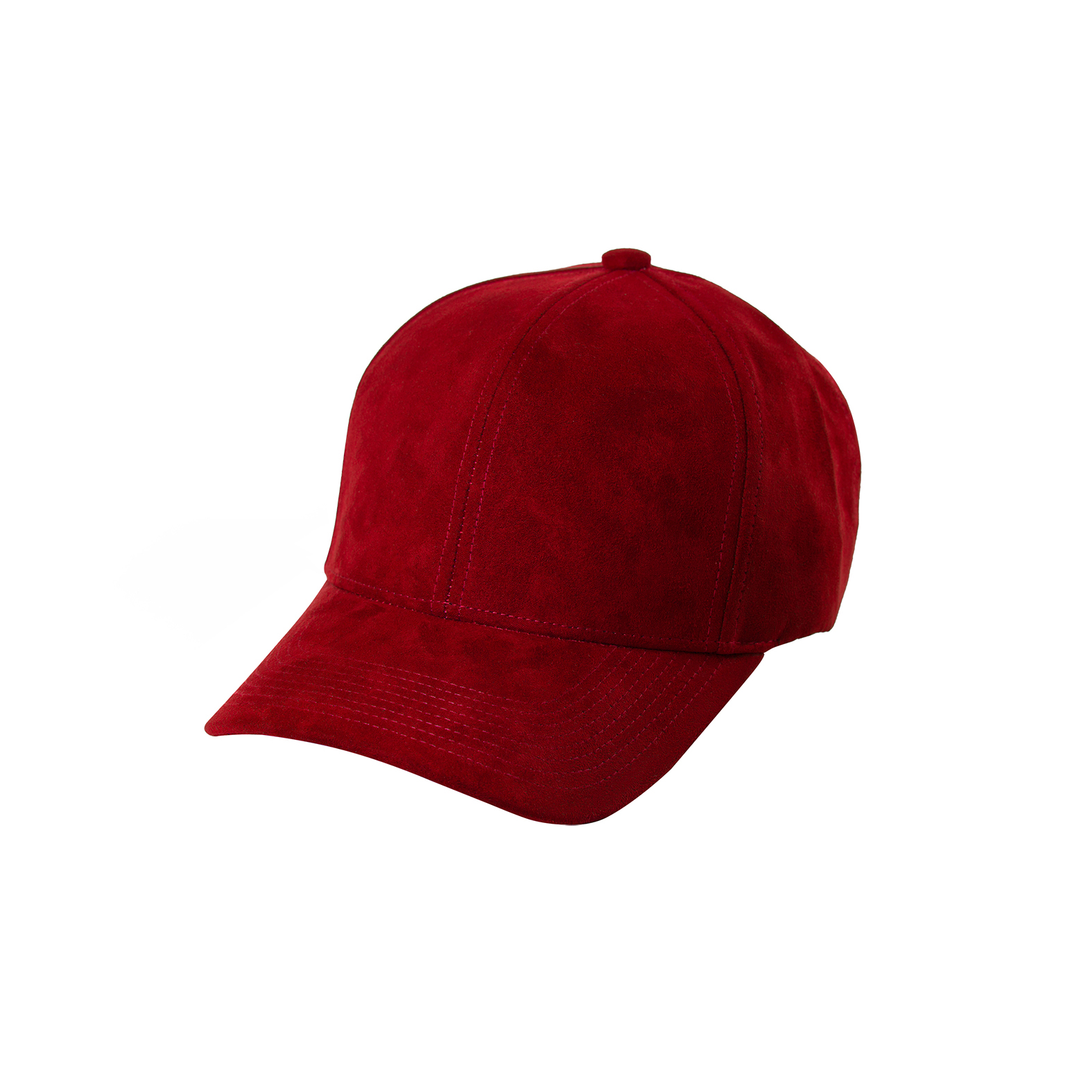 BASEBALL CAP RED SUEDE FRONT SIDE