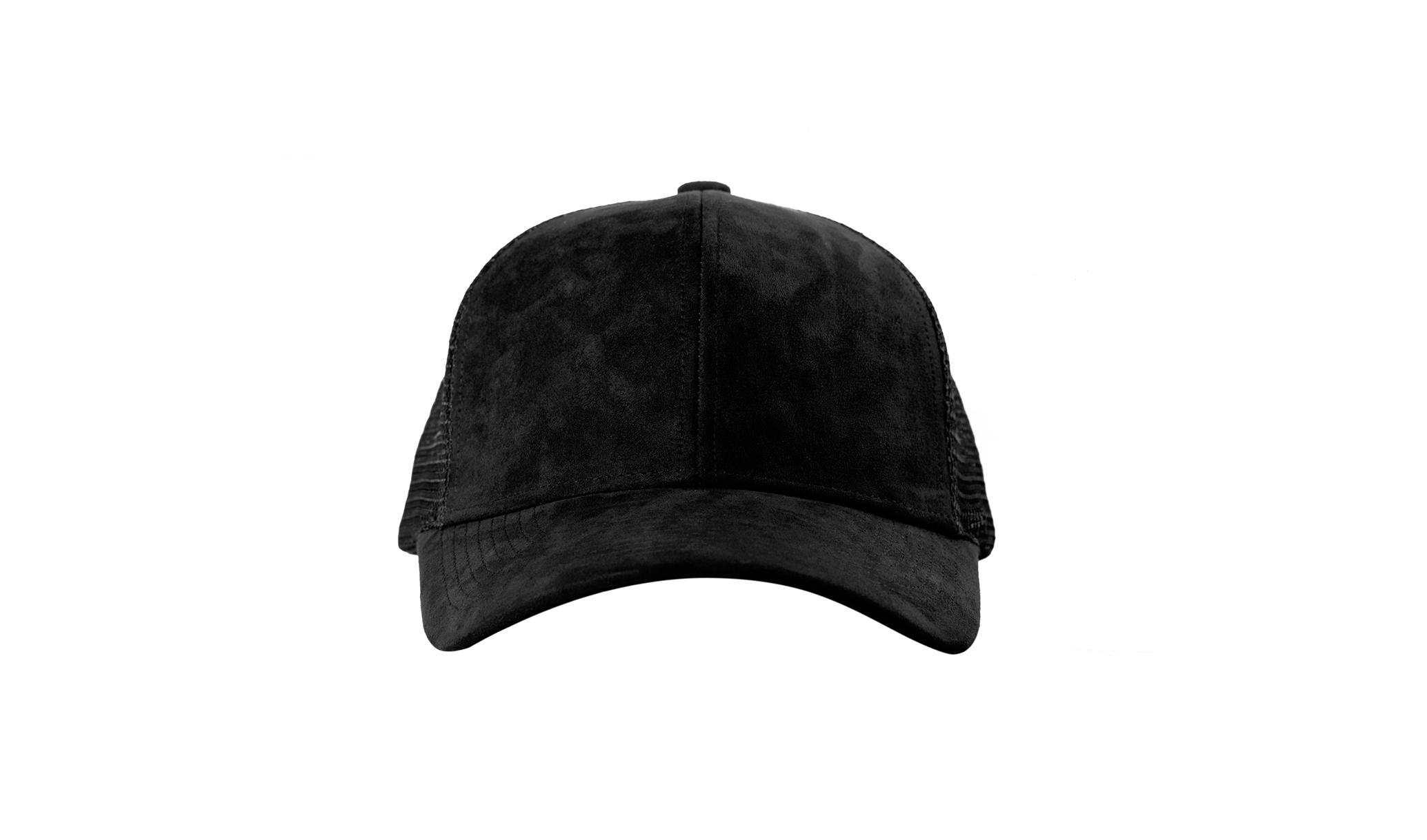 TRUCKER CAP BLACK SUEDE FRONT