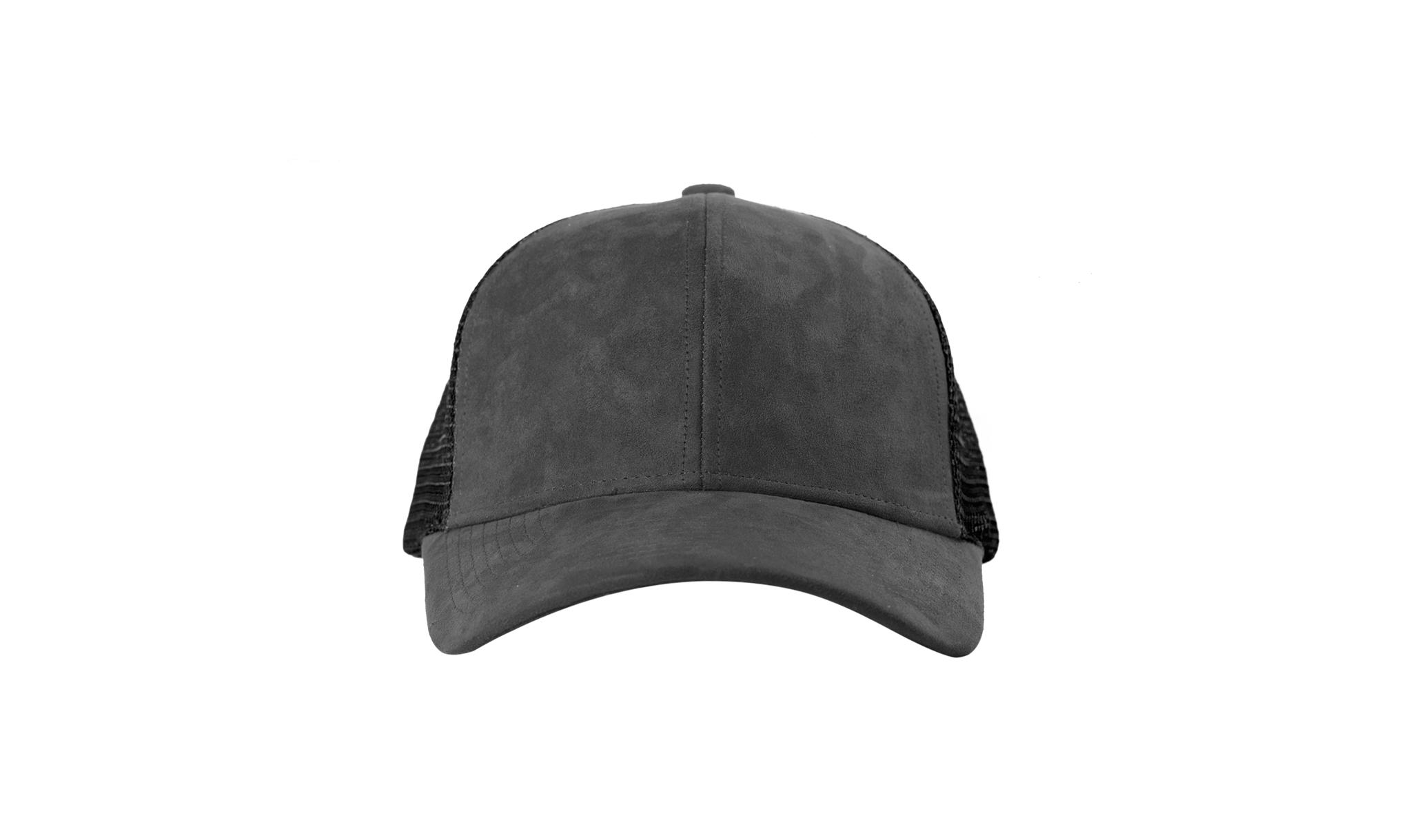 TRUCKER CAP ANTHRACITE SUEDE FRONT