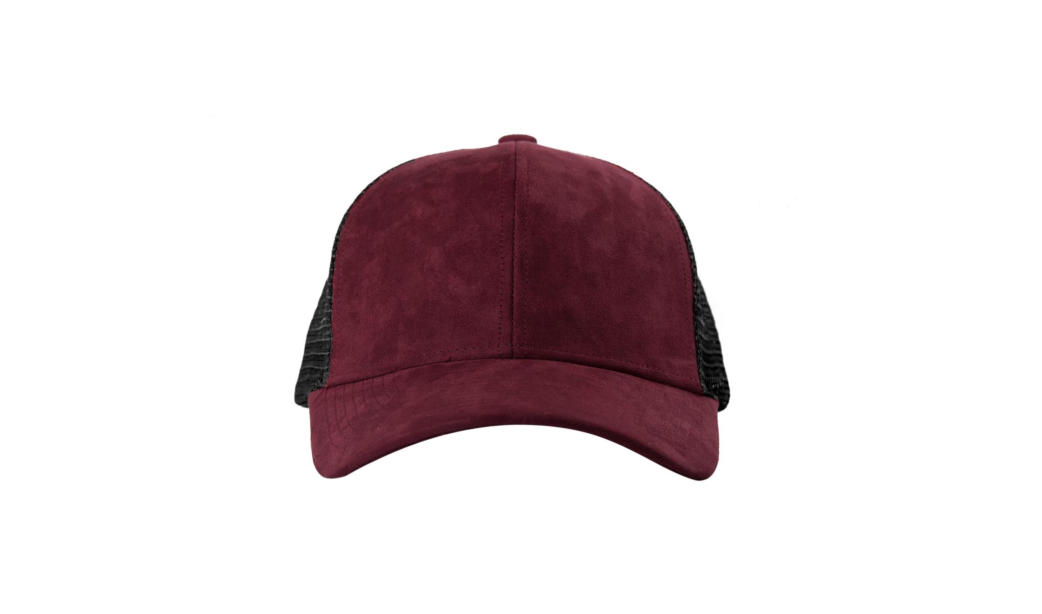 TRUCKER CAP BORDEAUX SUEDE FRONT