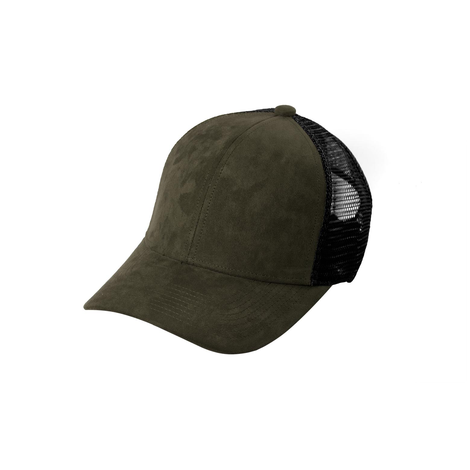 TRUCKER CAP OLIVE SUEDE FRONT SIDE