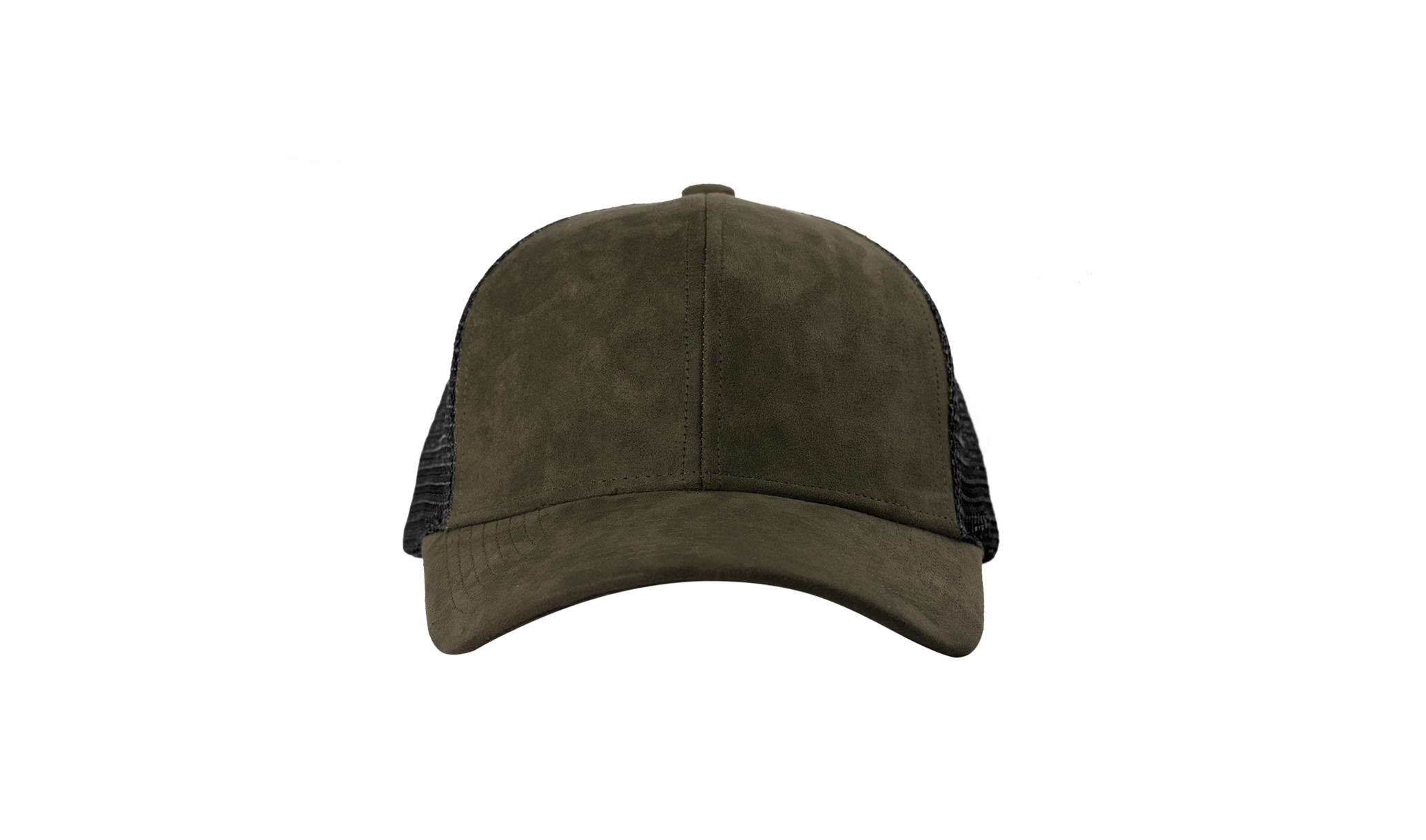 TRUCKER CAP OLIVE SUEDE FRONT