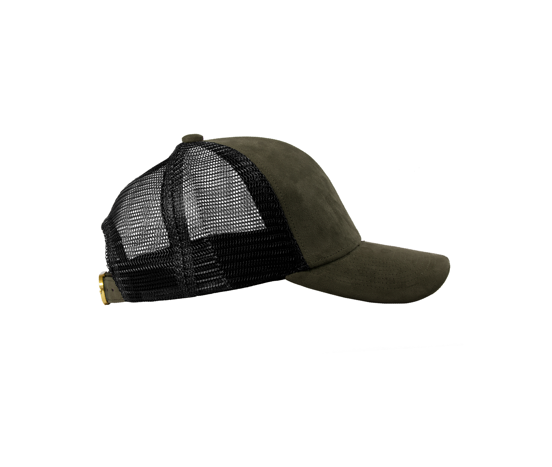 TRUCKER CAP OLIVE SUEDE SIDE