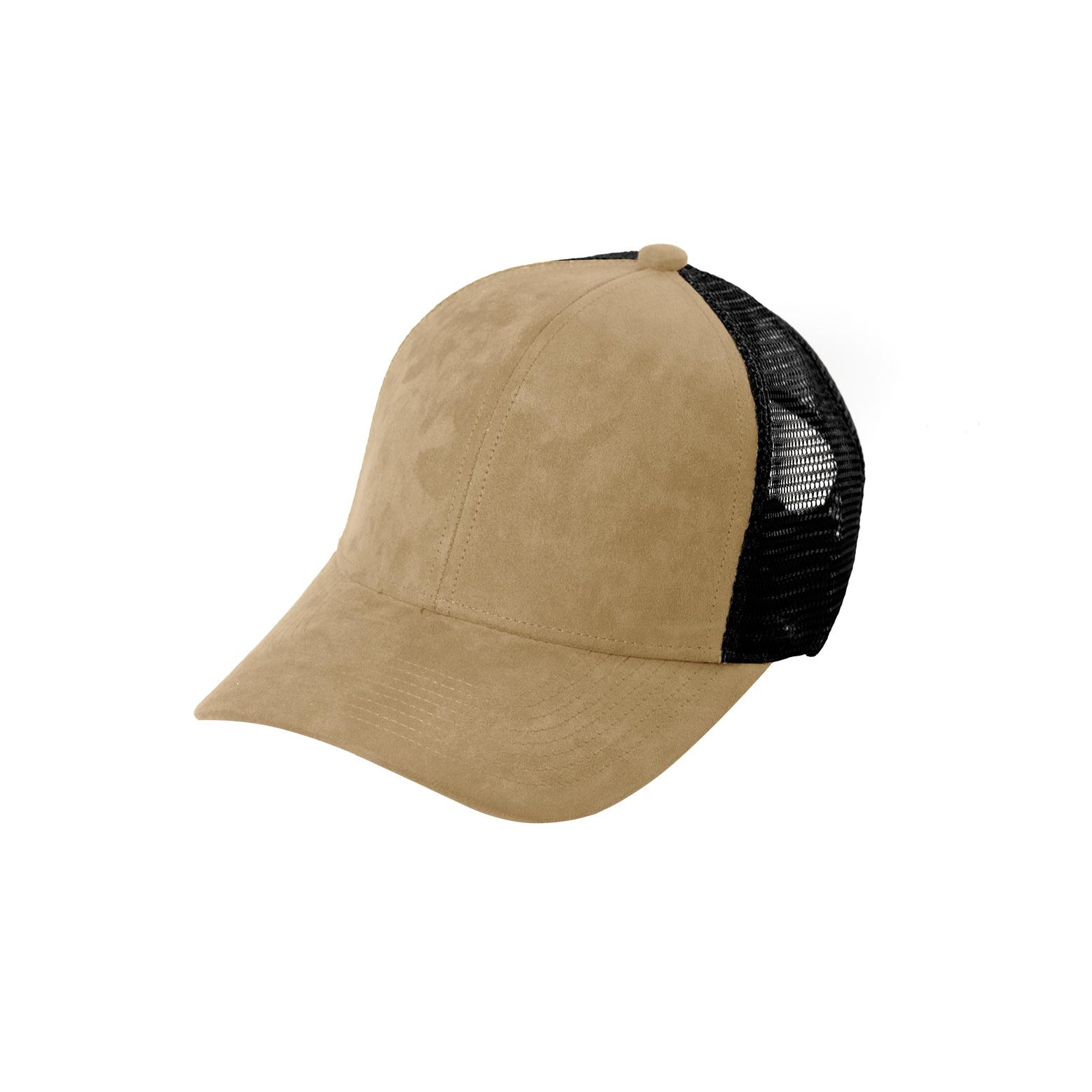 TRUCKER CAP SAND SUEDE FRONT SIDE