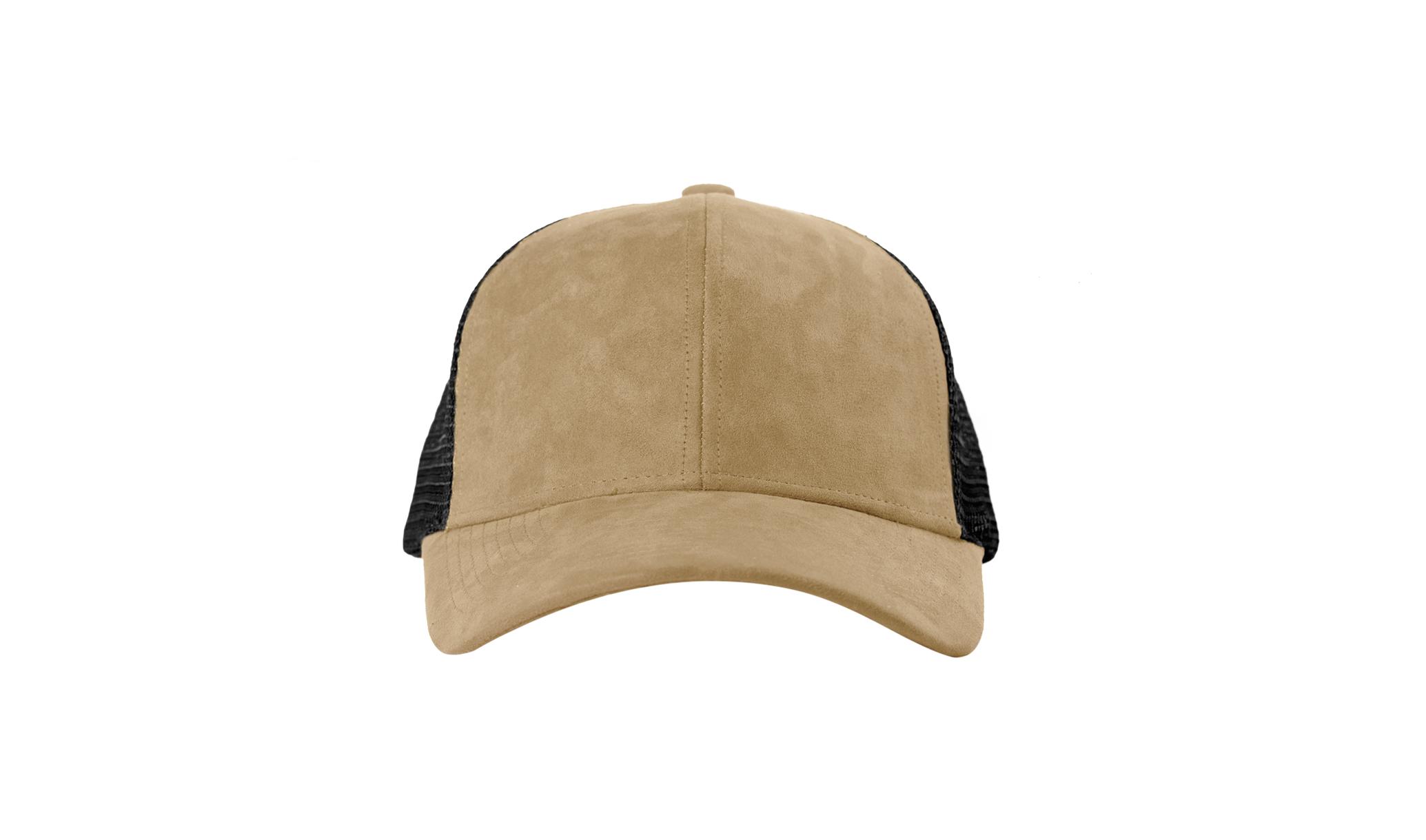 TRUCKER CAP SAND SUEDE FRONT