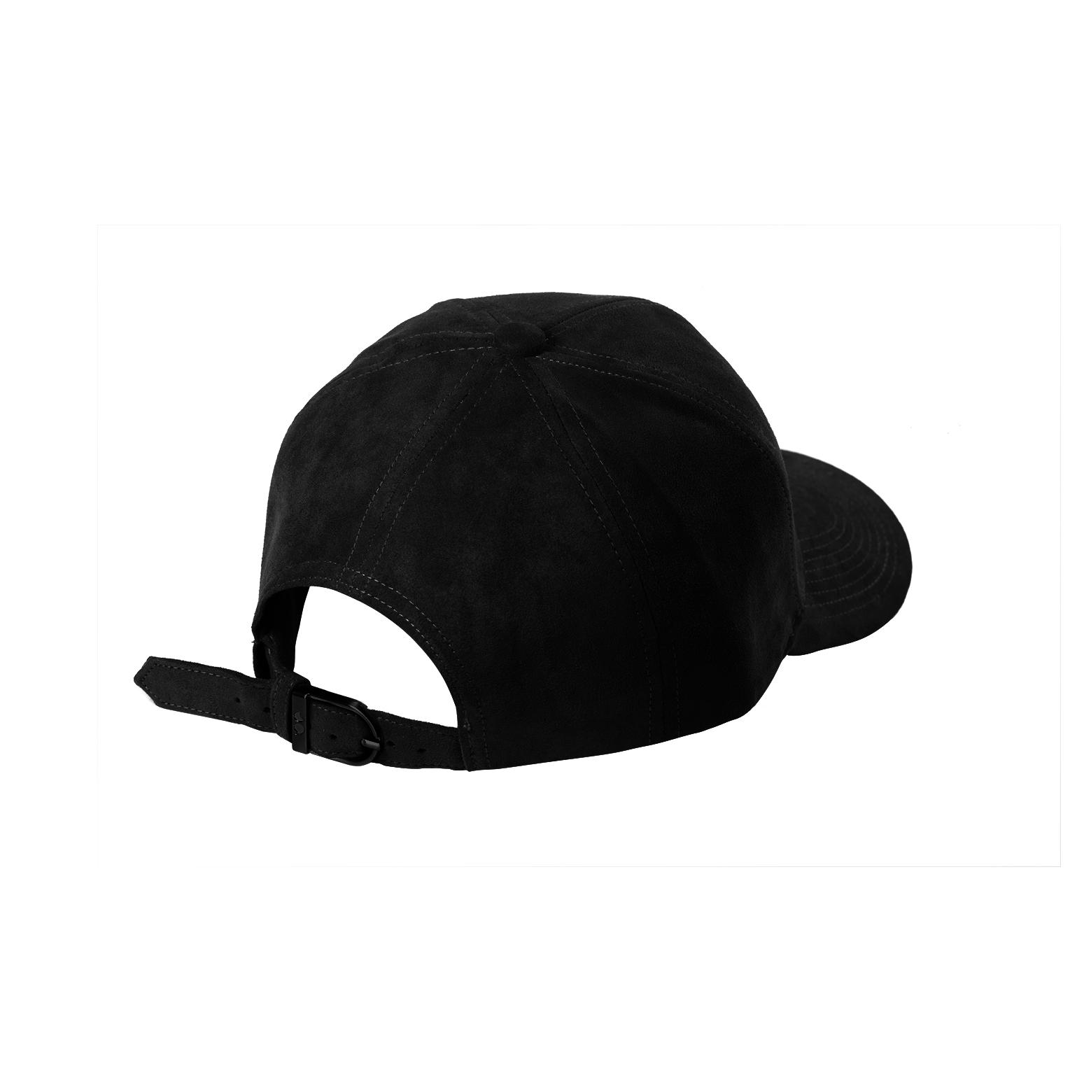 BASEBALL CAP BLACK SUEDE BLACK MAT BACK SIDE
