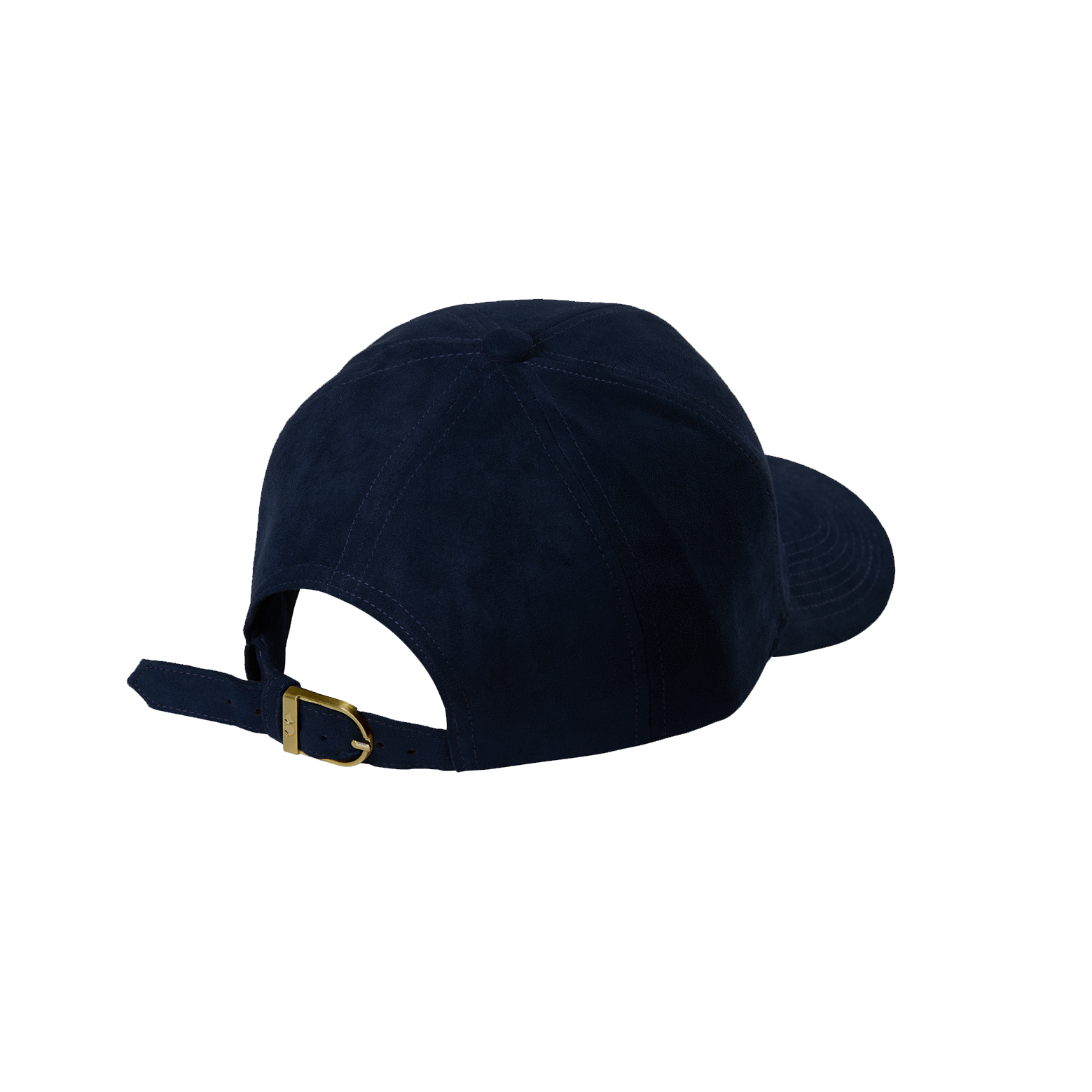 BASEBALL CAP NAVY BLUE SUEDE GOLD BACK SIDE