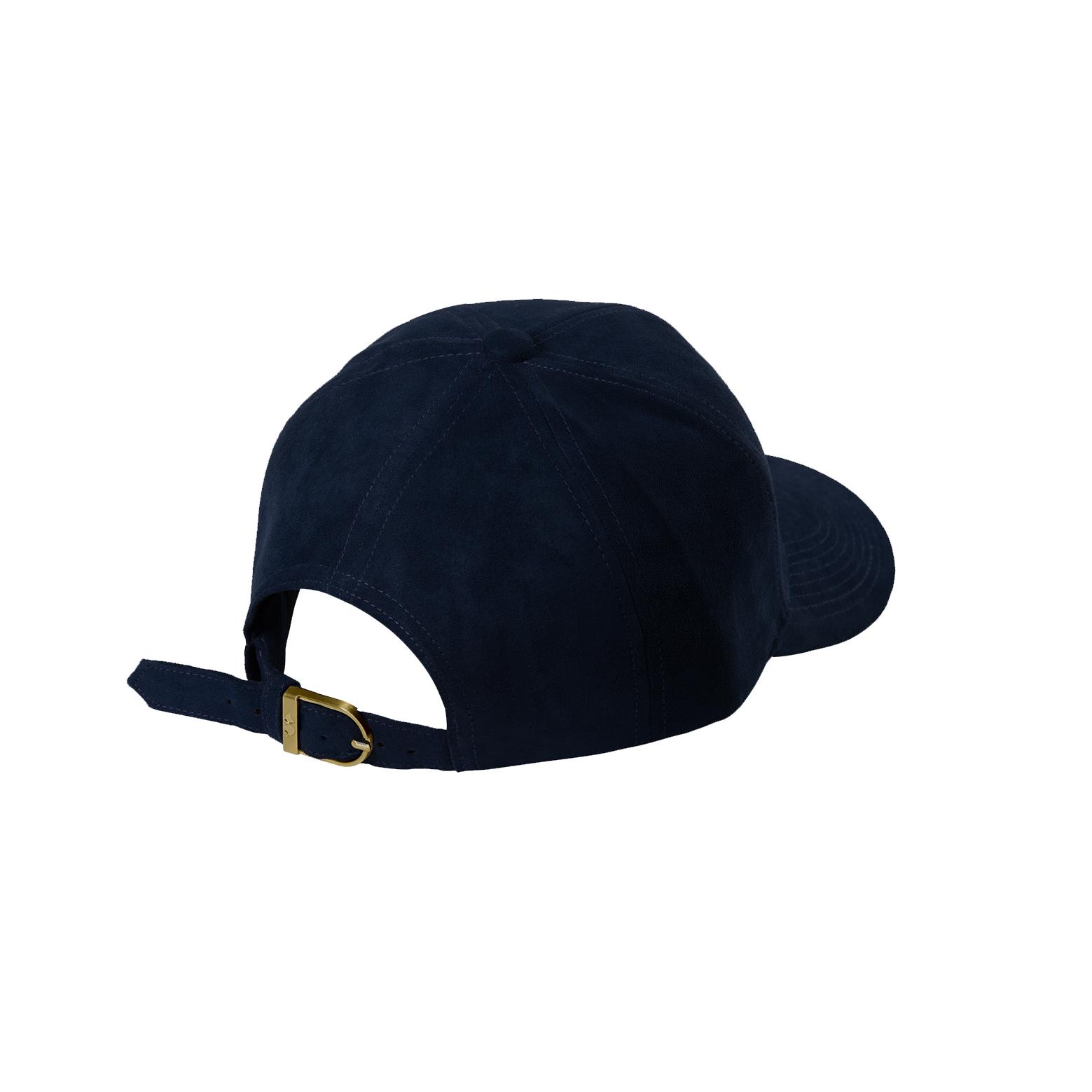 BASEBALL CAP NAVY BLUE SUEDE GOLD BACK SIDE