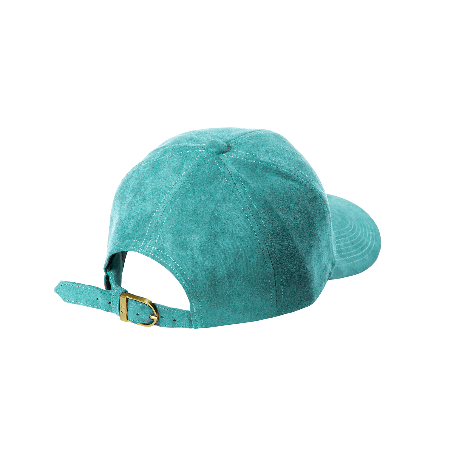 BASEBALL CAP TURQUOISE SUEDE GOLD BACK SIDE