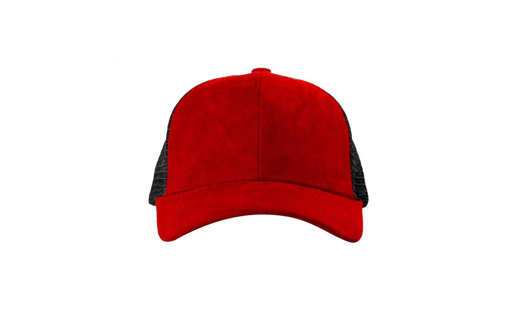 TRUCKER CAP RED SUEDE FRONT