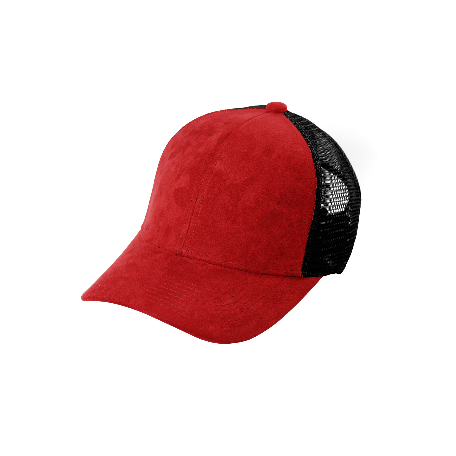 TRUCKER CAP ROUGE SUEDE FRONT SIDE
